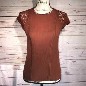 H&M Rust Color  Top With Lace Cap Sleeves Size 6